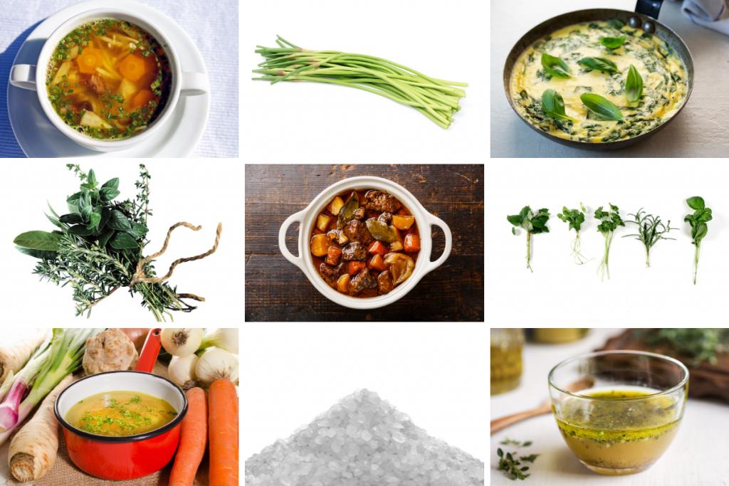 herbes salees ingredients + prepared dishes